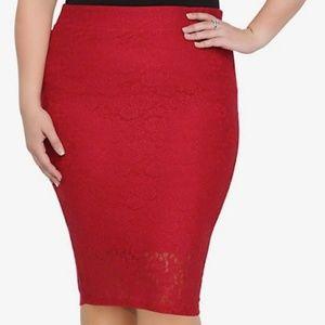 Torrid Red Lace Medi Skirt